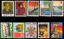 BHUTAN 10 Different Large Size Thematic Stamps-Flag-Disney, Painting, Football