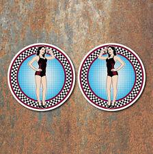 Pin Up Girl Race Stickers 70mm car motorcycle VW hotrod Retro Vintage Decal 3
