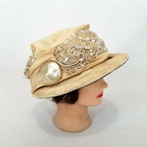 Vintage Beige Silk Cloche Hat Late 1910s Early 1920s Wilbur's Colorado Springs
