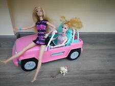 BARBIE PINK JEEP WITH 2  DOLLS&puppy - VERY GOOD CONDITION