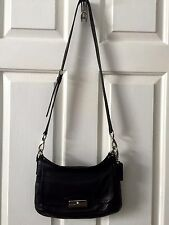 COACH KRISTIN Black Soft Gloved Leather East West Crossbody F22308