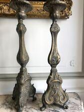Paire de chandeliers pique cièrges en laiton