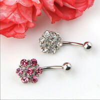 Rhinestones Flower Surgical Steel Barbell Piercing Belly Button Navel Ring BR
