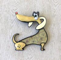 Vintage style artistic Dachshund dog brooch Pin enamel on metal