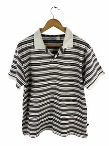 Reebok Men's Golf Polo Shirt Size L White Striped Short Sleeve Collared Casual