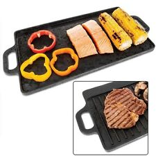 Hot Plate Cast Iron Griddle Non Stick Grill Skillet Reversible Gas Electric Bbq