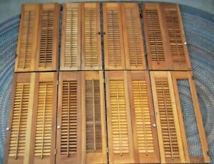 """Lot Vintage Wooden Louvered Window Shutters 32"""" High x 15-16"""" Wide"""