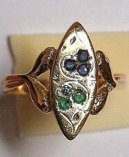 ANTIQUE VICTORIAN 14k GOLD EMERALD SAPPHIRE INTERTWINED 2 SNAKES GOOD LUCK RING