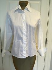 Burberry London White button down shirt Blouse Cuffs Size 10 Made In Italy