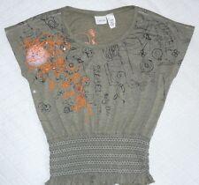 Diesel girl's top Sz L Olive green Orange details Smocked waist Never worn! CUTE