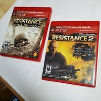 PS3 GREATEST HITS RESISTANCE FALL OF MAN & RESISTANCE 2 COMPLETE LOT OF 2 TESTED