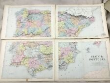 1891 Antique Map of Spain and Portugal Europe Old Original 19th Century Maps