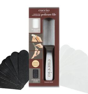 CUCCIO Naturale 50CT Black/White Refills (80 Grit) / Handle for Pedicure File