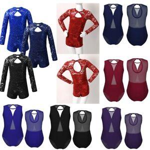 Kids Girls Mesh Gymnastics Ballet Leotard Jumpsuit Dancewear Bodysuit Costume