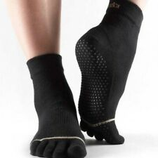 ToeSox Full Toe Ankle Grip Socks - Black