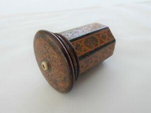 Antique Victorian Wood Tunbridge Ware 'Go To Bed' Match Holder Striker Box c1870