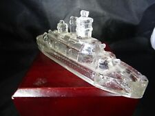Vintage Victory Glass Jeannette Pa Miniature Battleship Toy Candy Container ~5.0