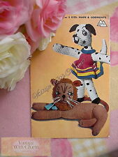 Vintage 1940s Knitting Pattern Copy For Toy Lion & Lady Dalmatian Dog With Dress