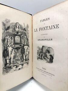 Fables LA FONTAINE illustré GRANDVILLE poésie XIXe reliure LITTÉRATURE française
