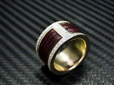 Womens Diamond Burgundy Epi Leather Ring/Band Wedding Round Brillaint Cut Pave