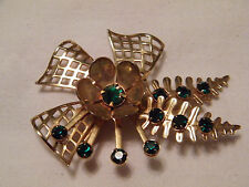 Stunning Brooch Pin & Pendant Gold Tone Sparkling Emerald Green Rhinestones WOW