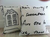 """New Funky Number Words Home Black & White Ikea Fabric Scatter Cushion Covers 16"""""""