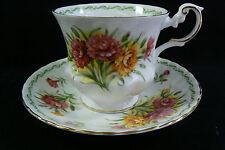Royal Dover Flowers Fine Bone China Carnations Flowers Tea Cup & Saucer set