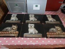 Portmeirion deluxe set of 6 rectangle elegant Westie & terrier place mats.