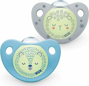 NUK Baby Pacifiers Dummies Trendline Night 6-18 Months Soothers BPA Free - 2 Pk