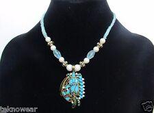 Affair Beaded Collar/Choker/Charm Necklace/Earrings Set in Sea Blue by Teknowear