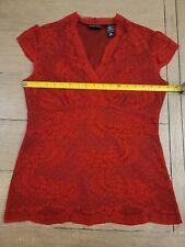 New York & Company Womens Red Lace Top Cap Sleeve V neck Fully Lined Medium EUC