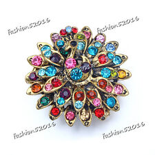 Multi-Color Peacock Stretch Ring Crystal Rhinestone Fashion Fashion Jewelry Gift