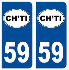 59 CH'TI NORD DEPARTEMENT IMMATRICULATION 2 X AUTOCOLLANTS STICKERS - AUTO
