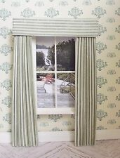 MINIATURE DOLL HOUSE  MINIATURE CURTAINS DRAPES SAGE GREEN STRIPE 4 3/4 INCHES