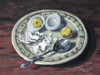 Original Still Life Painting of Hard Boiled Egg on Plate - (12x9) by John Wallie