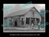 OLD LARGE HISTORIC PHOTO OF WEST JEFFERSON OHIO THE FEDER HARDWARE STORE c1900