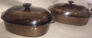 Vtg Corning Vision Pyrex 4L Amber Casserole Roasting Dish Lot F-14-C & V-34-B