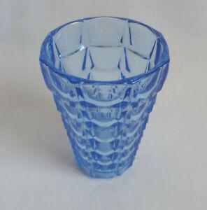 Dekorative Vase Art Deco Frankreich azur blaues Pressglas wohl Vallerysthal