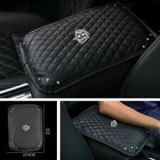 1PC Strass Crown Schwarz PU Leder Auto Mittelkonsole Armlehne Pad Mat Protector