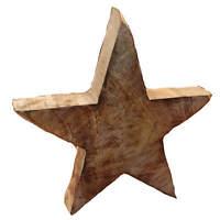 Stern aus Mangoholz 10cm breit ca. 4cm Ø Weihnachten Dekoration unbehandelt
