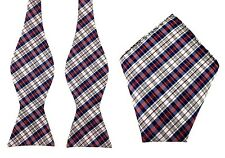 Navy Blue Maroon White Checks Self Tied Bowtie & Pocket Square Wedding Bow Ties