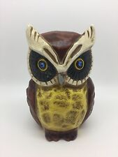 Charming Vintage Owl Piggy Bank, Coin Money, Hand-painted, Mexico (RF533)