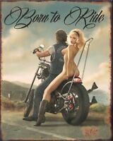 born to ride motorcycle vintage reproduction on 8x10 in aluminum