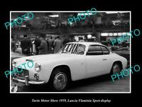 OLD LARGE HISTORIC PHOTO OF TURIN MOTOR SHOW, 1959 LANCIA FLAMINIA SPORT DISPLAY