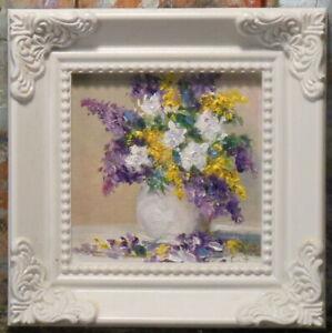 Summer Flowers 3x3 framed original oil painting Celene Farris Maine. miniature