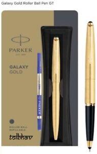 Parker Galaxy Gold Plated Body Clip Roller Ball Pen GT Trim Blue Ink RollerBall