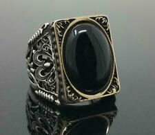 Huge Black Sapphire 925 Silver Ring Fashion Men's Wedding Engagement Jewelry NEW