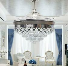 Modern Crystal Silver LED Chandelier 42inch Invisible Ceiling Fan Light w/Remote