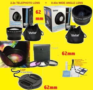 0.43x WIDE ANGLE+2.2x TELEPHOTO LENS 62mm+FILTER KIT+HOOD+CAP>SONY RX10II 18-200