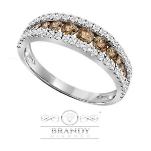 Brandy Diamond® Chocolate Brown 10K White Gold Stunning Eternity Band Ring .52Ct